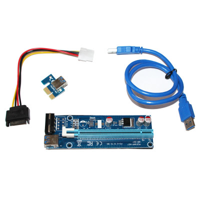 Райзер ATcom PCI-E x1 to 16x 60cm USB 3.0 Cable SATA to 4Pin Power