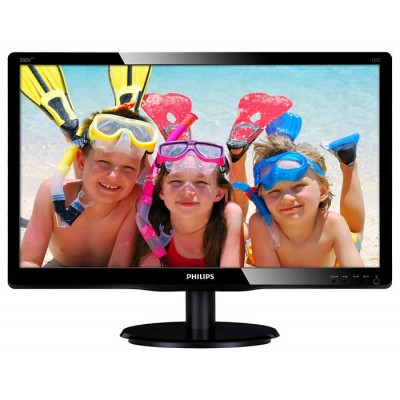 Монитор 19.5' Philips 200V4LAB2/00, Black, WLED, TN, 1600x900, 5 мс, 200 кд/м2, 600:1, 90°/65°, VGA,