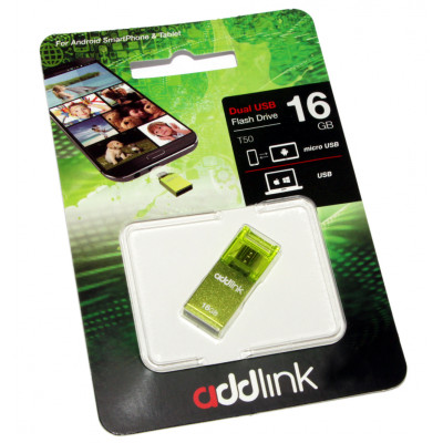 USB Flash Drive 16Gb AddLink T50 OTG Green / AD16GBT50G2