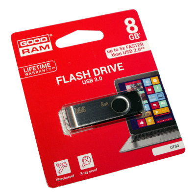 USB 3.0 Flash Drive 8Gb Goodram Twister Black / 18/9Mbps / UTS3-0080K0R11