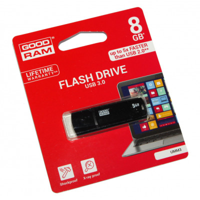 USB 3.0 Flash Drive 8Gb Goodram UMM3 Black / 60/20Mbps / UMM3-0080K0R11