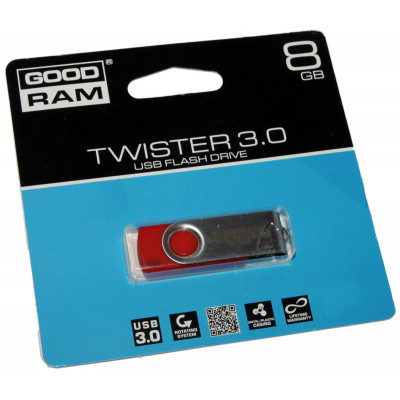 USB 3.0 Flash Drive 8Gb Goodram Twister Red / UTS3-0080R0R11