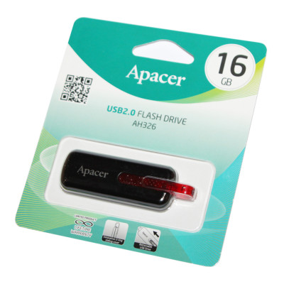 USB Flash Drive 16Gb Apacer AH326 Black / AP16GAH326B-1