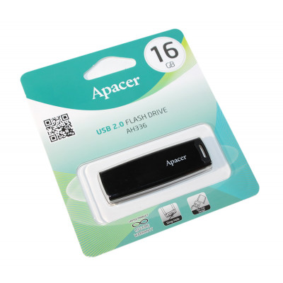 USB Flash Drive 16Gb Apacer AH336 Black, AP16GAH336B-1