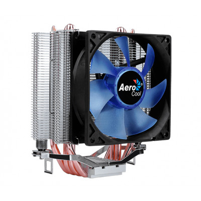 Кулер для процессора Aerocool Verkho 4 Lite, алюминий/медь, 1x90 мм Blue LED, для Intel 115x/1200/2011/2066, AMD AM4/AM3(+)/AM2(+)/FM1/FM2(+), до 125 Вт
