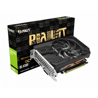Видеокарта GeForce GTX 1660, Palit, StormX, 6Gb DDR5, 192-bit, DVI/HDMI/DP, 1830/8000 MHz, 8-pin (NE51660S18J9-165F)