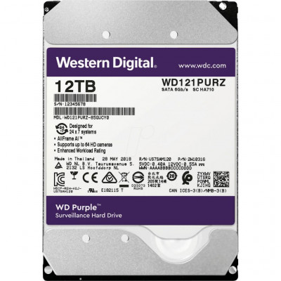 Жесткий диск 3.5' 12Tb Western Digital Purple, SATA3, 256Mb, 7200 rpm (WD121PURZ)