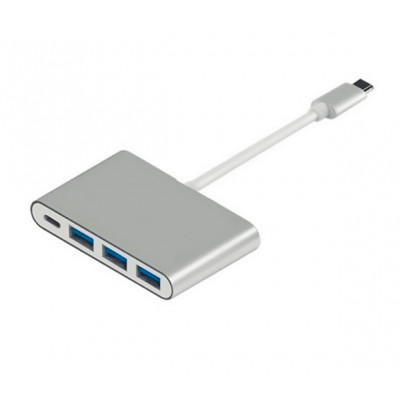 Переходник Atcom Type-C 3.1|(male) to 3 USB 3.0 (female)+TypeC(female), длина кабеля 10см