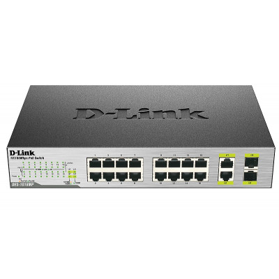 Коммутатор D-Link DES-1018MP, 16x10/100 Mb/s, 2x10/100/1000BASE-T/SFP, неуправляемый