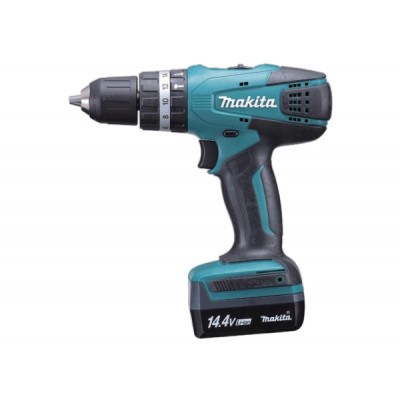 Шуруповерт ударный Makita HP347DWE, Blue/Black, 14.4В / 1.3Ah, 1400 об./мин, 21000 уд./мин, Li-Ion, 30/15 Нм, сталь - 10 мм / дерево - 25 мм / камень - 10 мм, 1,4 кг