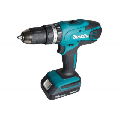 Шуруповерт ударный Makita HP457DWE, Blue/Black, 18В / 1.5Ah, 1400 об./мин, 21000 уд./мин, Li-Ion, 42/24 Нм, сталь - 13 мм / дерево - 36 мм / камень - 13 мм, 1,7 кг