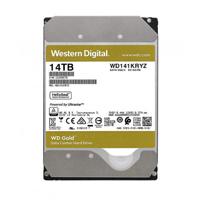Жесткий диск 3.5' 14Tb Western Digital Gold, SATA3, 512Mb, 7200 rpm (WD141KRYZ)