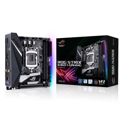 Мат.плата 1151 (B360) Asus ROG STRIX B360-I GAMING, B360, 2xDDR4, Int.Video(CPU), 4xSATA3, 2xM.2, 1xPCI-E 16x 3.0, SupremeFX (S1220A), I219-V, WiFi ac, Bluetooth 5.0, 6xUSB3.1/4xUSB2.0, HDMI/DP, Mini ITX